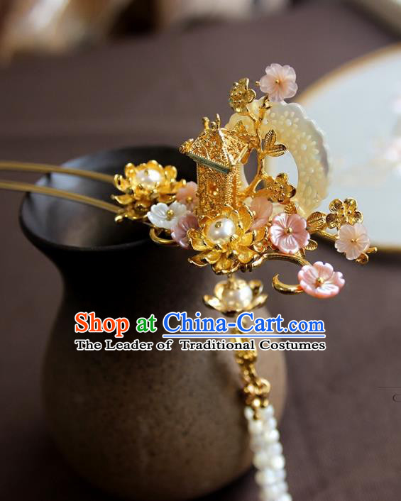 Chinese Ancient Handmade Pavilion Hair Clip Classical Hair Accessories Hanfu Hairpins for Women
