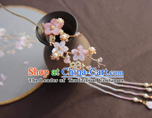 Chinese Ancient Handmade Classical Pink Shell Flowers Hair Clip Hair Accessories Hanfu Hairpins for Women