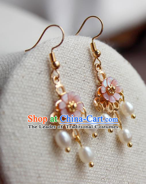 Chinese Ancient Handmade Hanfu Accessories Pearls Tassel Earrings for Women