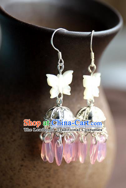 Chinese Ancient Handmade Classical Accessories Hanfu Shell Butterfly Earrings for Women