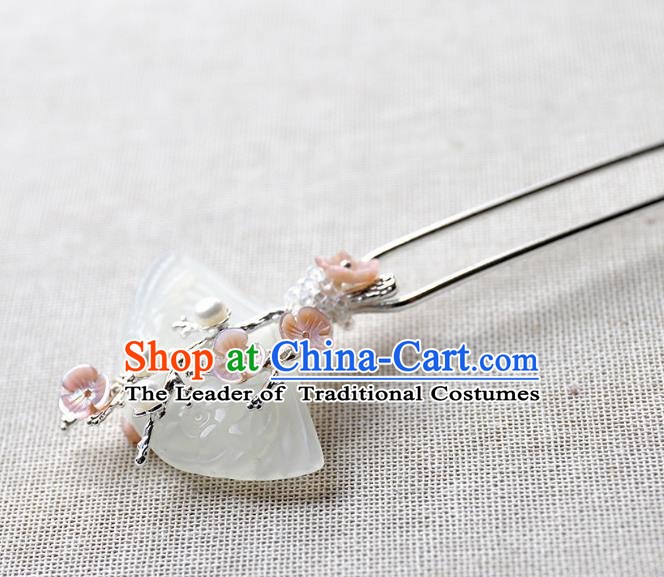 Chinese Ancient Handmade Jade Hair Clip Classical Hair Accessories Hanfu Hairpins for Women