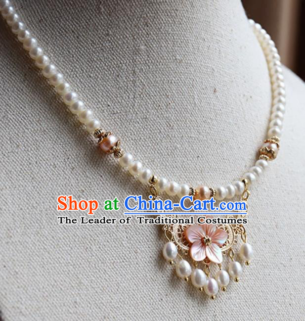Chinese Ancient Handmade Classical Accessories Hanfu Pearls Tassel Necklace for Women