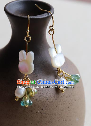 Chinese Ancient Handmade Classical Accessories Hanfu Pearls Tassel Earrings for Women