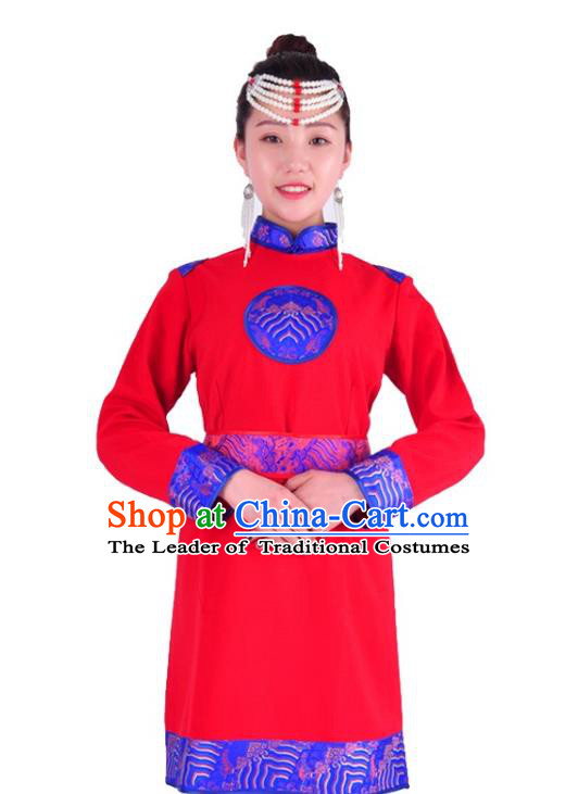 Chinese Mongol Nationality Costume Traditional Mongolian Minority Red Dress for Women