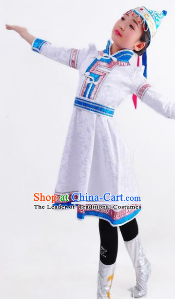 Chinese Mongol Nationality Costume Traditional Mongolian Minority White Dress for Kids