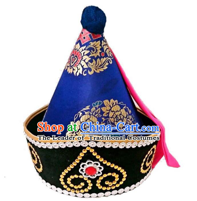 Chinese Handmade Mongol Nationality Wedding Hats Hair Accessories Mongolian Royalblue Hats for Men
