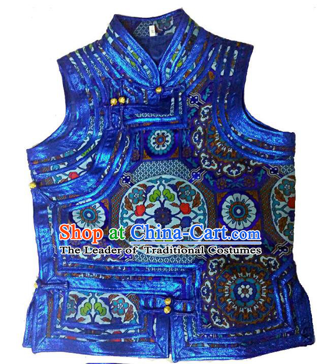Chinese Mongol Nationality Costume Royalblue Vest Traditional Mongolian Minority Dress for Women