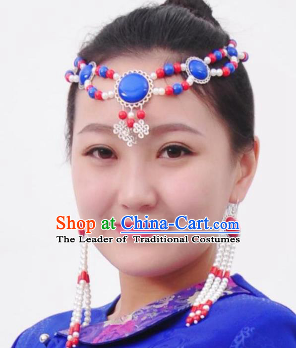 Chinese Handmade Mongol Nationality Hair Accessories Mongolian Beads Hair Clasp for Women
