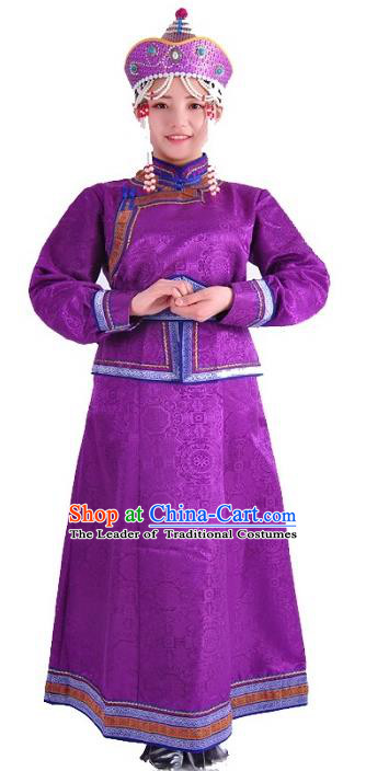 Chinese Mongol Nationality Costume Wedding Purple Dress Traditional Mongolian Minority Clothing for Women