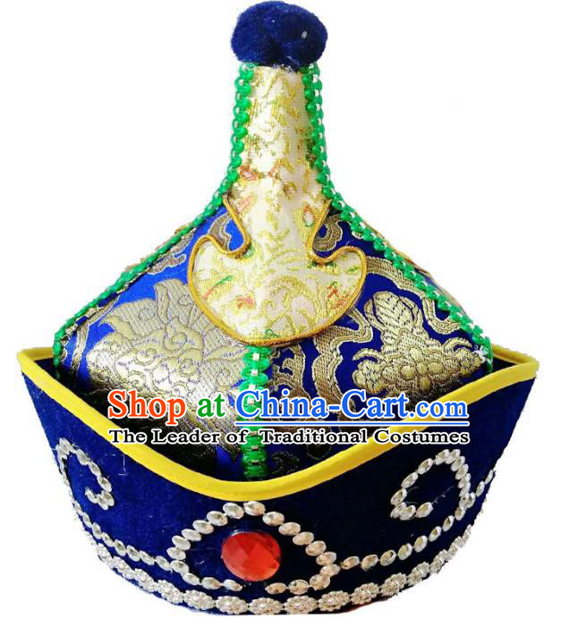 Chinese Handmade Mongol Nationality Wedding Blue Hats Mongolian Royal Highness Hats for Men
