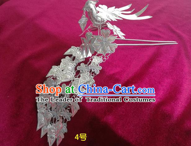 Chinese Traditional Miao Nationality Hair Accessories, Hmong Sliver Long Tassel Hairpins Headwear for Women