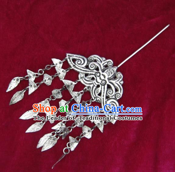 Chinese Traditional Miao Nationality Hair Accessories, Hmong Sliver Butterfly Tassel Hairpins Headwear for Women