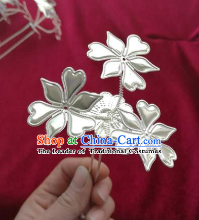 Chinese Traditional Miao Nationality Hair Accessories, Hmong Sliver Flowers Hairpins Headwear for Women