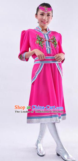 Chinese Mongol Nationality Folk Dance Costume Traditional Mongolian Minority Rosy Dress for Women