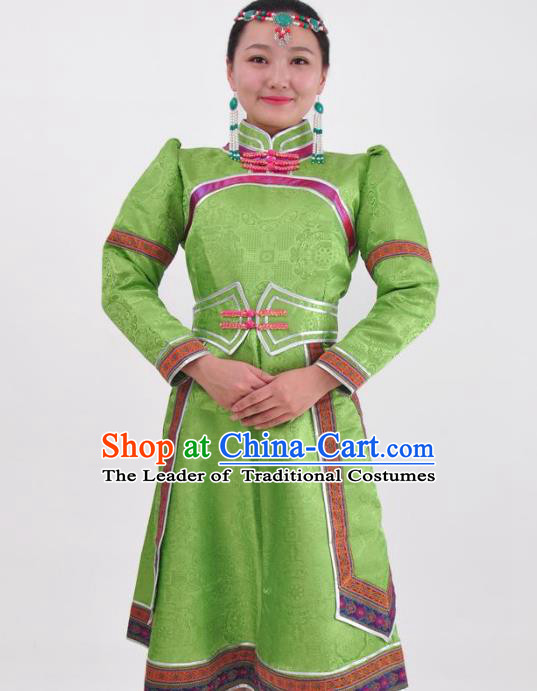 Chinese Mongol Nationality Folk Dance Green Dress Costume Traditional Mongolian Minority Clothing for Women