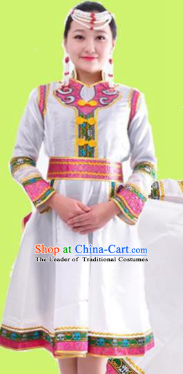 Chinese Mongol Nationality Folk Dance White Dress Costume Traditional Mongolian Minority Clothing for Women