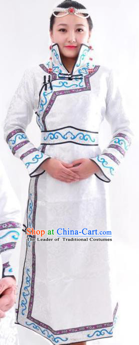 Chinese Mongol Nationality Folk Dance Costume Traditional Mongolian Minority White Mongolian Robe for Women