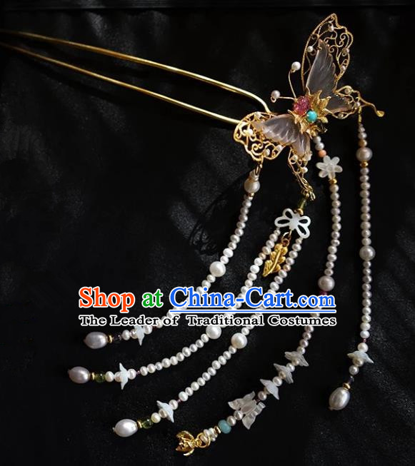 Chinese Ancient Handmade Tourmaline Butterfly Hair Clip Classical Hair Accessories Hanfu Hairpins for Women