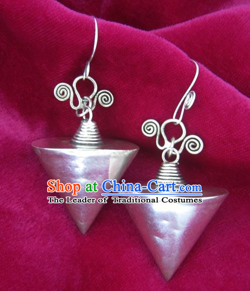 Chinese Handmade Miao Nationality Sliver Jewelry Accessories Hmong Cone Earrings for Women