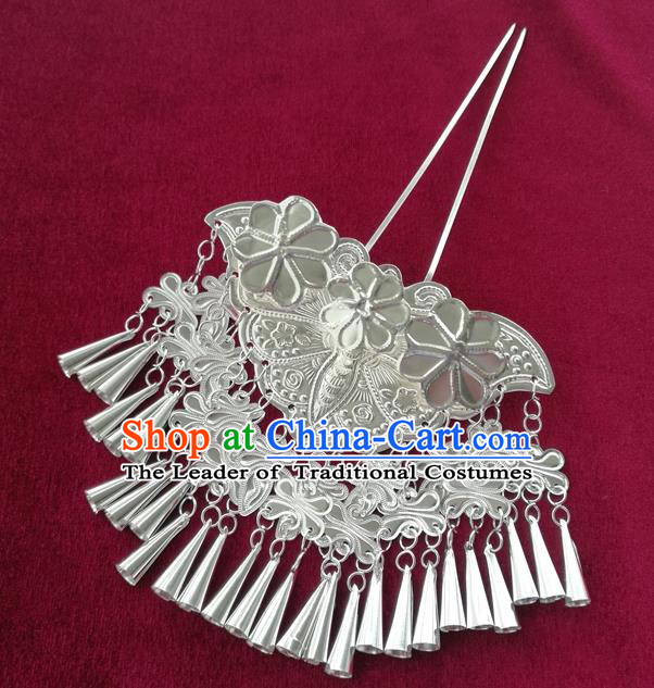 Chinese Traditional Miao Nationality Hair Accessories Hmong Sliver Butterfly Tassel Hairpins Headwear for Women