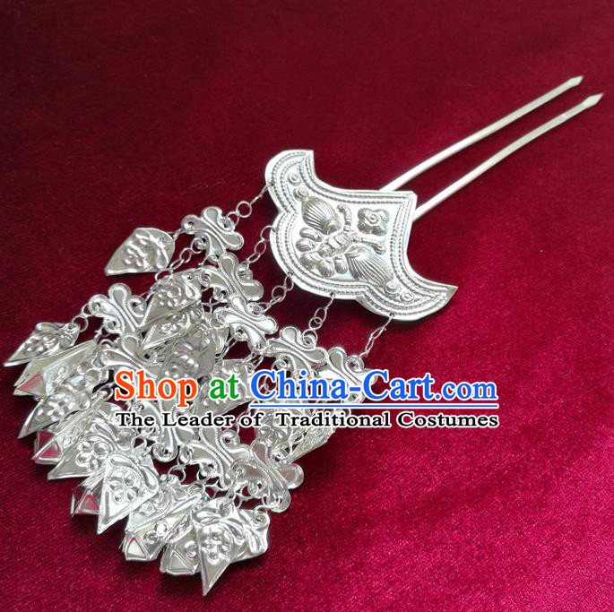 Chinese Traditional Miao Nationality Hair Accessories Hmong Sliver Tassel Hairpins for Women