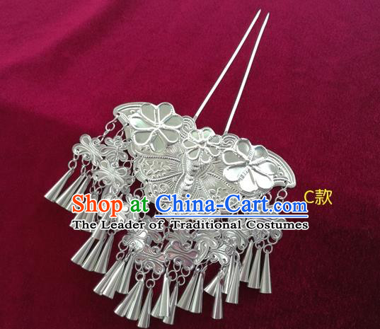 Chinese Traditional Miao Nationality Hair Accessories Hmong Sliver Bells Tassel Butterfly Hairpins for Women