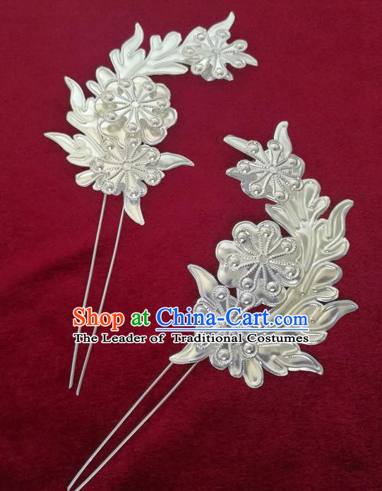 Chinese Traditional Miao Nationality Hair Accessories Hanfu Sliver Hairpins for Women