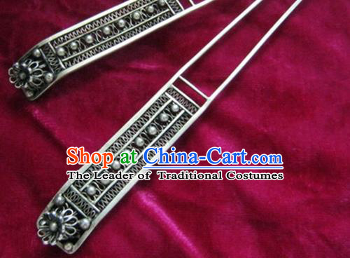 Chinese Traditional Miao Nationality Hair Accessories Hanfu Antique Sliver Hairpins for Women