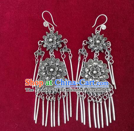 Chinese Handmade Miao Nationality Jewelry Accessories Hmong Sliver Flowers Earrings for Women
