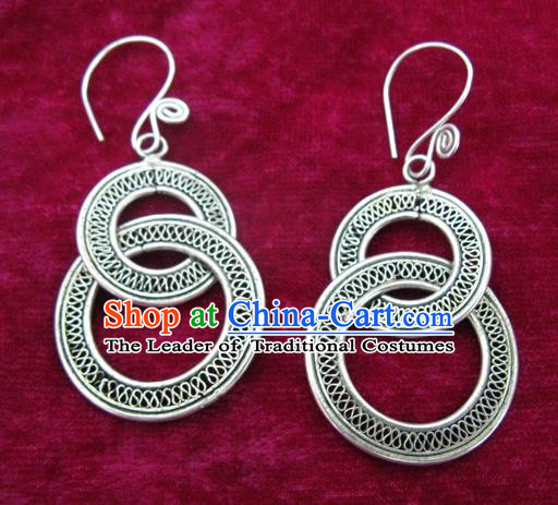 Chinese Handmade Miao Nationality Sliver Earbob Jewelry Accessories Hmong Earrings for Women