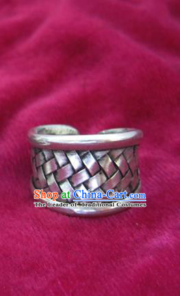 Chinese Miao Nationality Sliver Ornaments Traditional Hmong Handmade Ring for Women