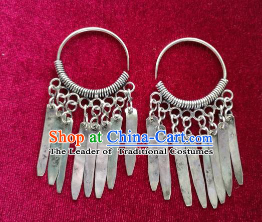 Chinese Handmade Miao Nationality Jewelry Accessories Sliver Tassel Earbob Hmong Earrings for Women