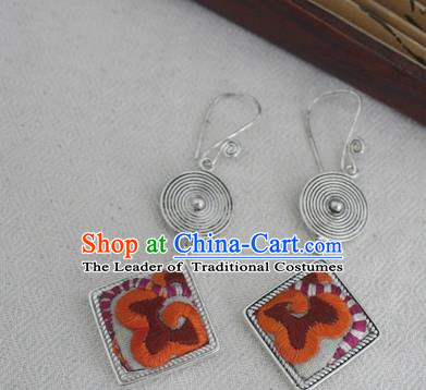 Chinese Handmade Miao Nationality Jewelry Accessories Embroidered Orange Earbob Hmong Earrings for Women
