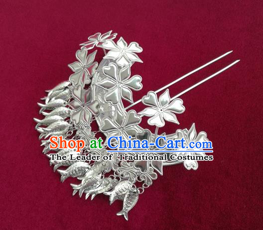 Chinese Traditional Miao Nationality Hair Clip Hair Accessories Hanfu Sliver Fishes Tassel Hairpins for Women