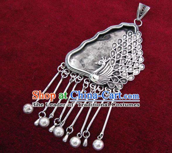 Chinese Handmade Miao Nationality Jewelry Accessories Tassel Sliver Earrings for Women