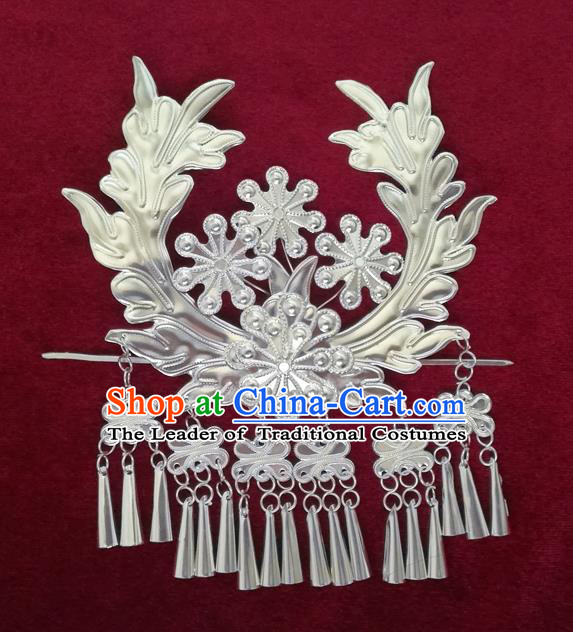 Chinese Traditional Miao Nationality Hair Clip Hair Accessories Hanfu Sliver Hairpins for Women