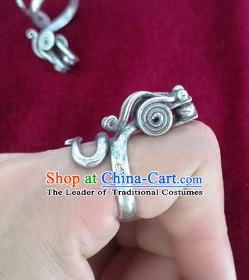 Chinese Miao Nationality Ornaments Sliver Dragon Ring Accessories Traditional Hmong Finger Ring for Women