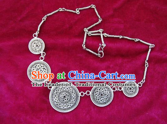 Chinese Miao Nationality Ornaments Sliver Bracelet Traditional Hmong Brace Lace Jewelry for Women