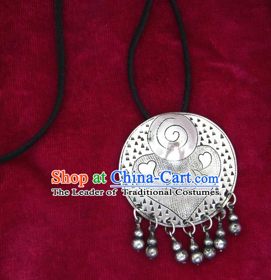 Chinese Miao Nationality Ornaments Carving Sliver Necklace Pendant Traditional Hmong Necklet for Women