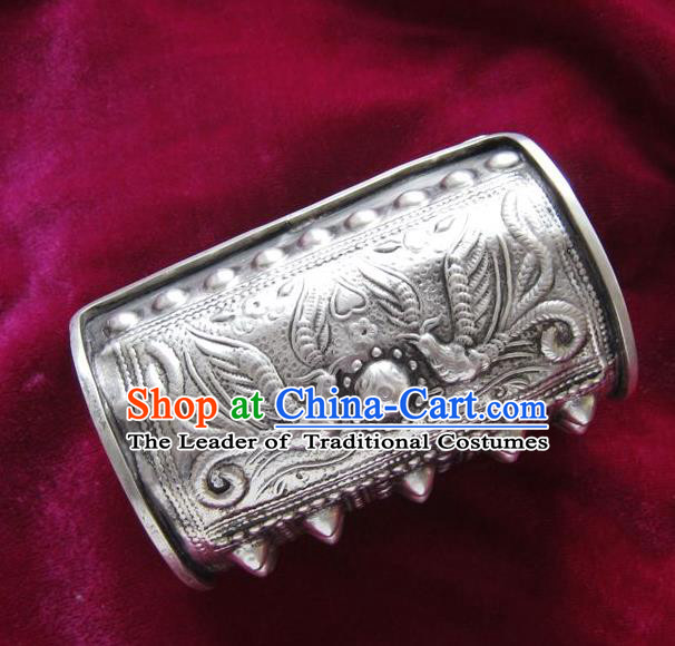 Chinese Miao Nationality Ornaments Sliver Carving Phoenix Bracelet Traditional Hmong Bangle for Women