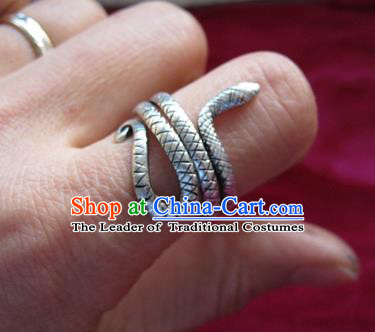 Chinese Miao Nationality Ornaments Sliver Snake Ring Traditional Hmong Finger Ring for Women