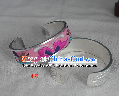 Chinese Miao Nationality Ornaments Sliver Bracelet Traditional Hmong Embroidered Pink Bangle for Women