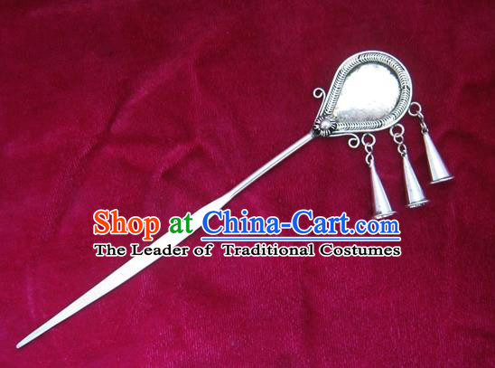 Chinese Traditional Miao Nationality Sliver Hair Clip Hanfu Hairpins Hair Accessories for Women