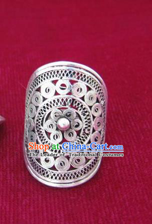 Chinese Miao Nationality Ornaments Sliver Ring Traditional Hmong Jewelry for Women