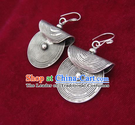 Chinese Handmade Miao Sliver Round Eardrop Hmong Nationality Earrings for Women