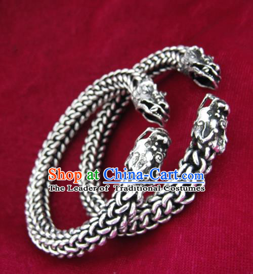 Chinese Miao Sliver Ornaments Dragon Head Bracelet Traditional Hmong Bangle Accessories for Women