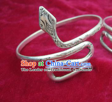 Chinese Miao Sliver Ornaments Snake Bracelet Traditional Hmong Bangle Accessories for Women
