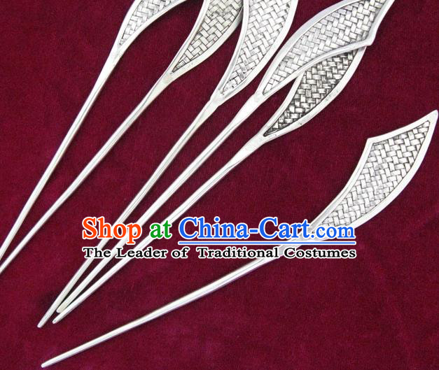 Traditional Chinese Miao Nationality Sliver Broadsword Hair Clip Hanfu Hairpins Hair Accessories for Women