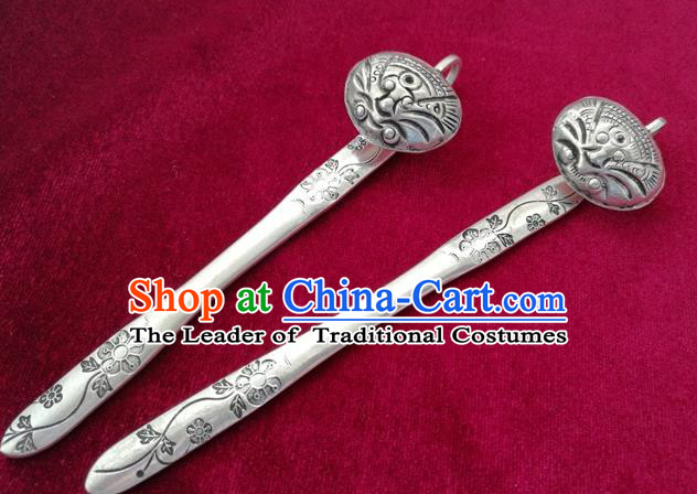 Traditional Chinese Miao Nationality Carving Sliver Hair Clip Hanfu Hairpins Hair Accessories for Women