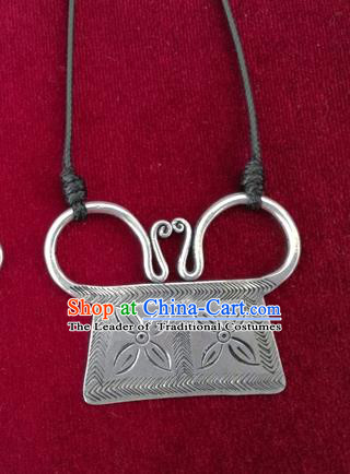 Chinese Miao Sliver Ornaments Necklace Traditional Hmong Carving Necklet Pendant for Women